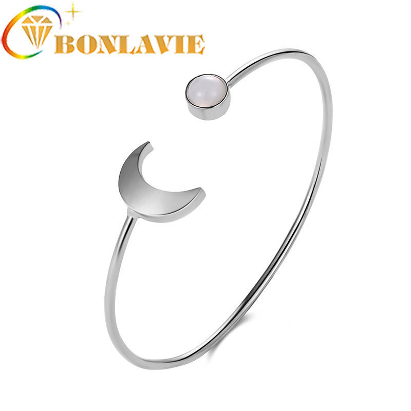 New Alloy Three-colour Fashion Moon Round Bracelet Geometric Open Bracelet &bangle Women Concise Jewelry