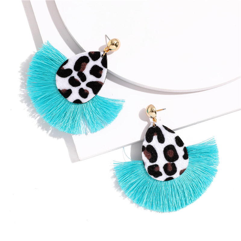 Bohemia Leopard Dangle Drop Earrings Biscuits Round Resin Cheetah Tassel Earrings for Women sector Jewelry Pendientes oorbellen 4