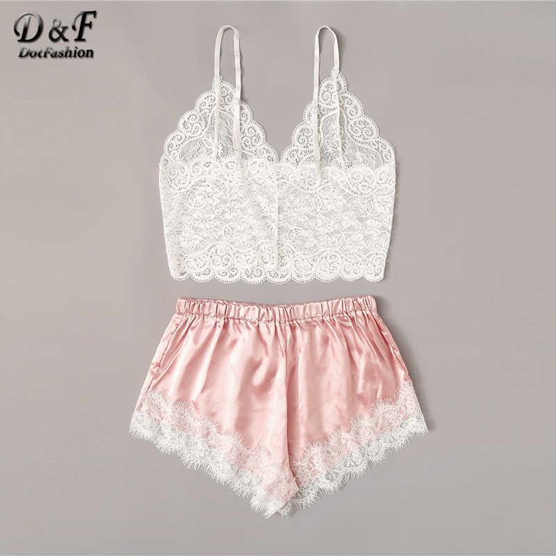 Dotfashion Floral Renda Cami Top dengan Satin Celana Pendek Wanita 2019 Musim Panas Seksi Set Wanita Bra Nirkabel dan Shortie Underwear Set