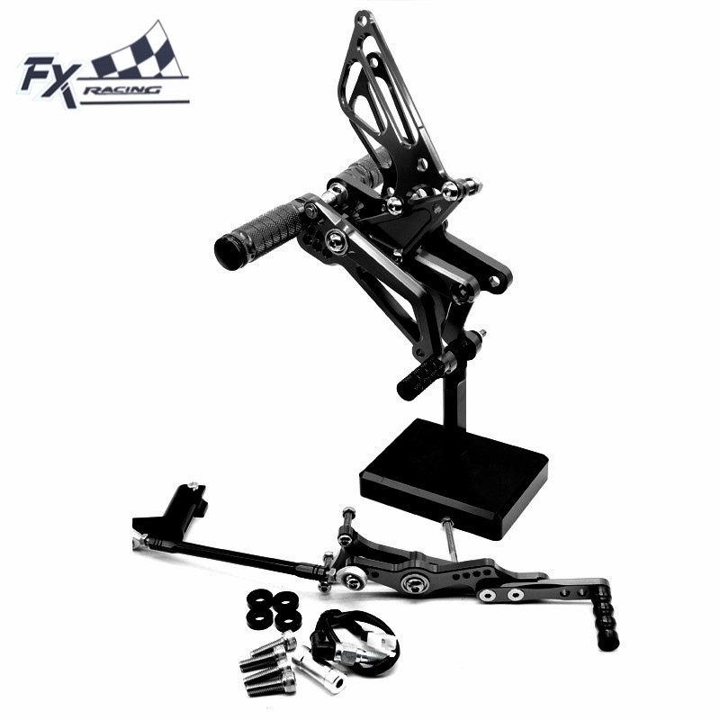 CNC Motorcycle Foot Pegs Rest Footpegs Pedals Rearset Footrest Rear For TRIUMPH DAYTONA 675R 2006 - 2016 DAYTONA 675 2011 - 2013 стоимость