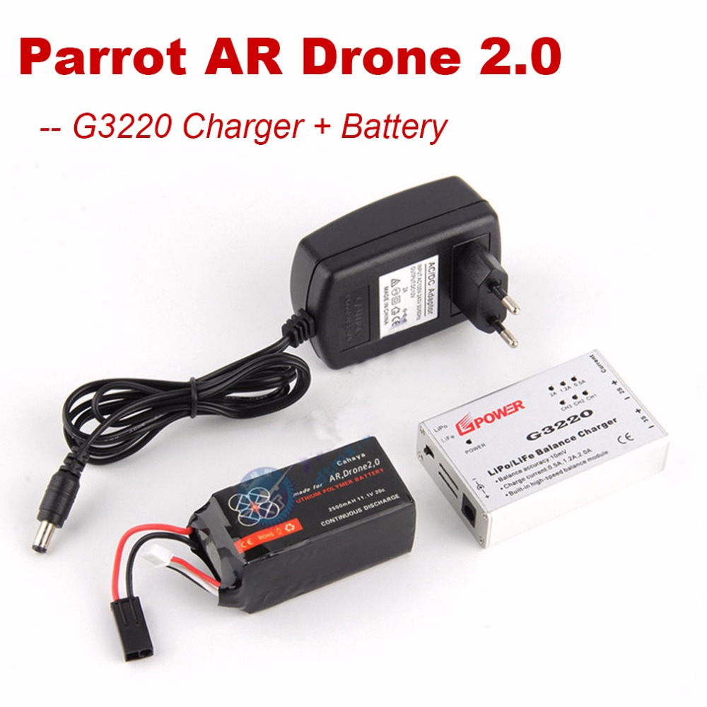 Parrot AR Drone 2.0 Lipo Battery 11.1V 2500mAh 20C Upgrade Powerful Battery + G3220 Speed Balance Charger Adapter Free Shipping