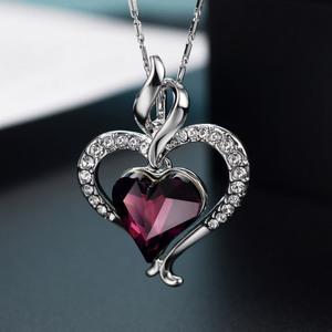 Image 5 - Neoglory אוסטריה קריסטל & ריינסטון ארוך קסם תליון הצהרת שרשרת כפול אהבת לבבות טרנדי מתנה עבור נשים יומי