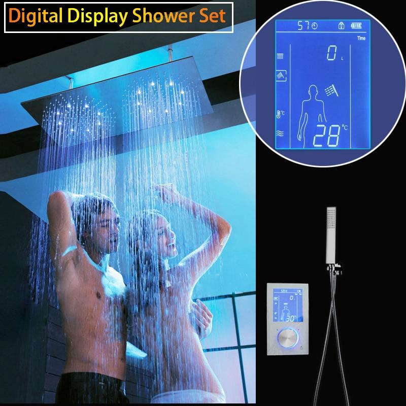 Écran tactile Intelligent Douche Ensemble Numérique Affichage Tête De Douche LED Précipitations Double Panneau De Douche 30*60 cm Thermostat De Bain Robinet