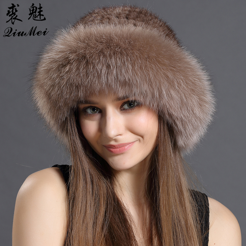 Real Fur Hat Winter For Women Caps Natural Mink Fur With Fox Fur Hat Luxury Brand New Solid Russian Sun Knitting Buckets Hats