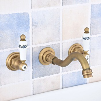 цена на Antique Brass Bathroom Sink Mixer Tap Faucet Dual Handles 3 Holes Mixer Tap Wall Mounted Bathroom Faucet zsf531