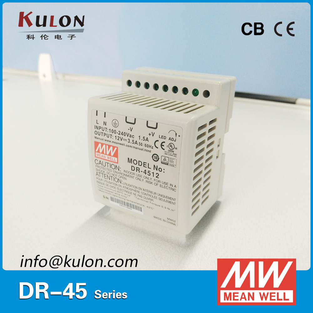 цена на Original MEAN WELL DR-4512 Single Output 3.5A 12V 42W DIN rail mounted Meanwell power supply DR-45