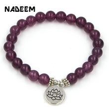 Handmade Bohemian Natural Purple Stone Beads Lotus,Life Tree,Buddha Bracelets Bangles For