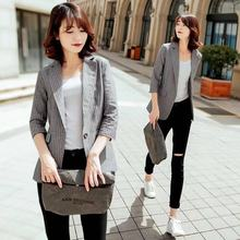 Women Blazers And Jackets Vertical Striped Blazer Long Ladies Chinese Jacket Woman 2019