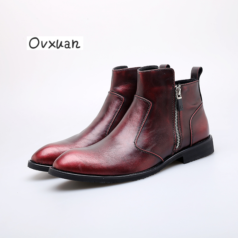 Ovxuan Chelsea Boots Genuine Leather Handmade Pointed High Top Brogue Business Formal Dress Men Shoes Office Wedding Mens Shoes