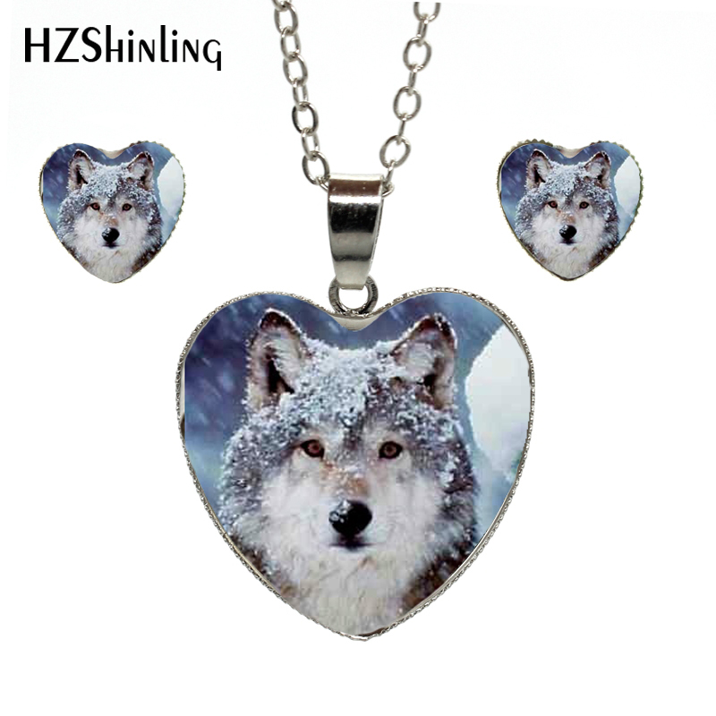Trend Mark 2018 New Arrival Silver Chains Heart Necklace Handmade Snow Wolf Art Pictures Elegent Heart Necklace Earrings Heart Jewelry Set High Resilience
