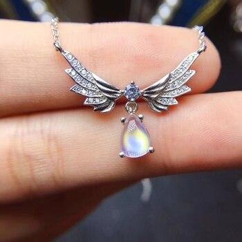 Natural blue moonstone gem Necklace Natural gemstone Pendant Necklace 925 sliver Elegant Lovely Angel Wings Girl gift Jewelry