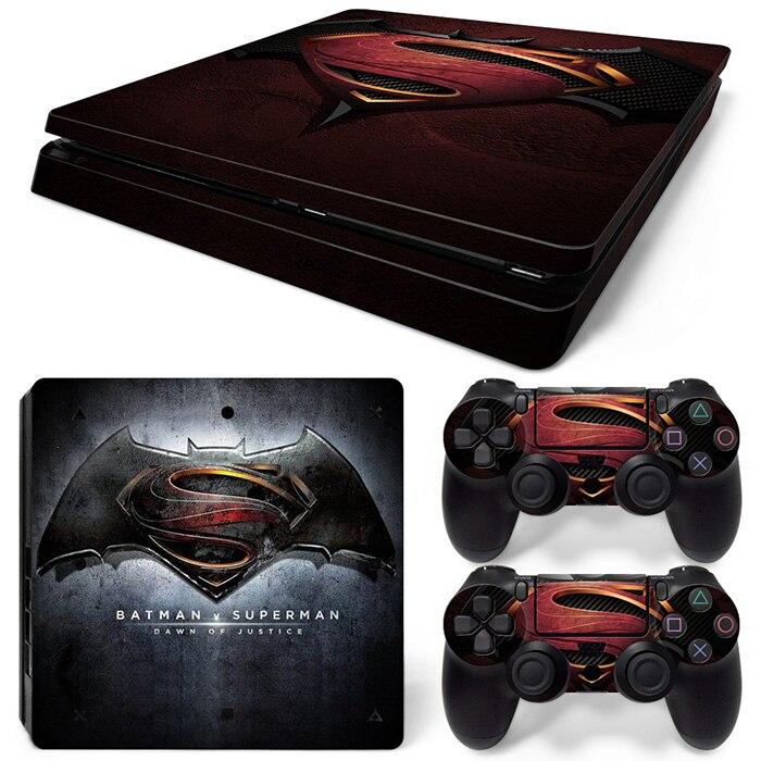 Бэтмен против Супермена Подпушка правосудия наклейки для PS4 Slim консоли и два контроллера кожных покровов # tn-p4slim-1486