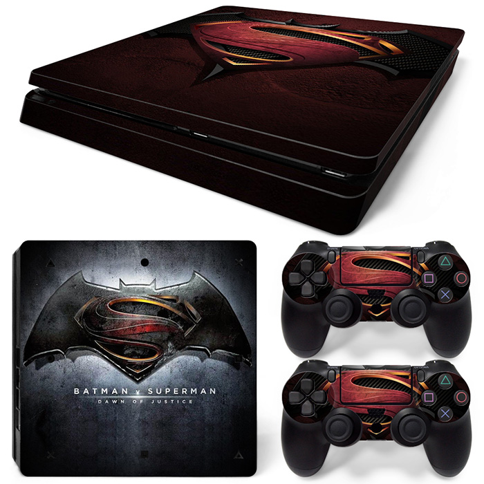 Batman v Superman Down of Justice Decals sticker for PS4 slim console and two controller skin covers #TN-P4Slim-1486