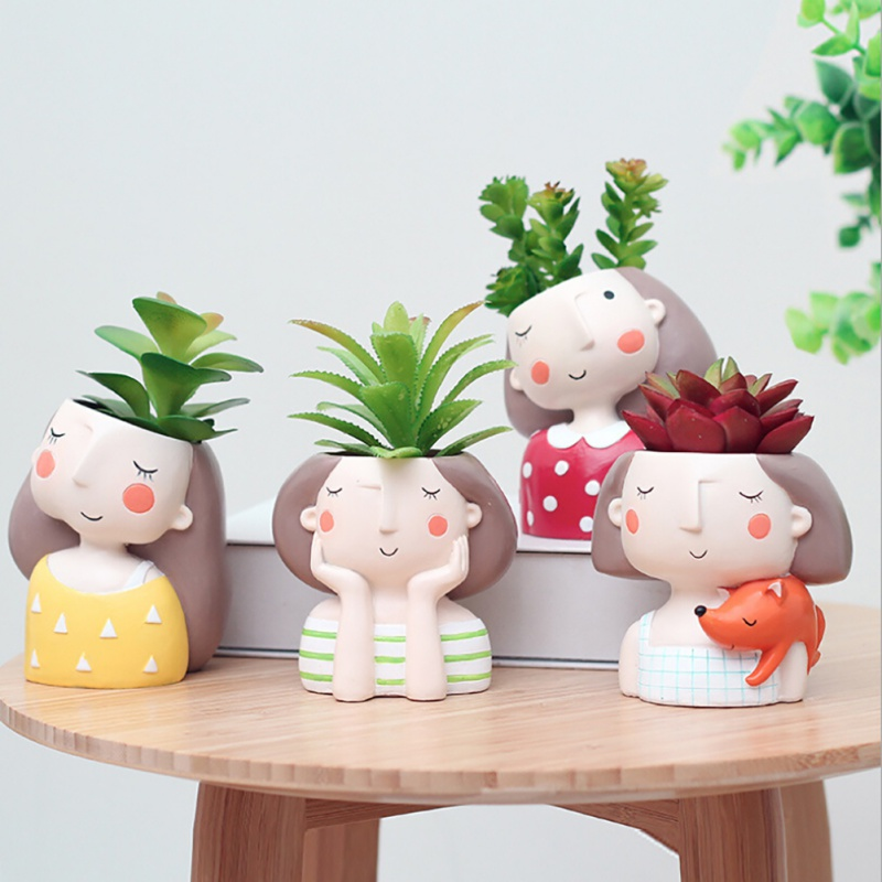 VICOODA Birthday Gift Ideas Succulent Plant Pot Cute Girl Flower Planter Vase Flowerpot Creat Design Home Garden Bonsai Pots
