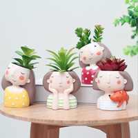 VICOODA Birthday Gift Ideas Succulent Plant Pot Cute Girl Flower Planter Vase Flowerpot Creat Design Home Garden Bonsai Pots