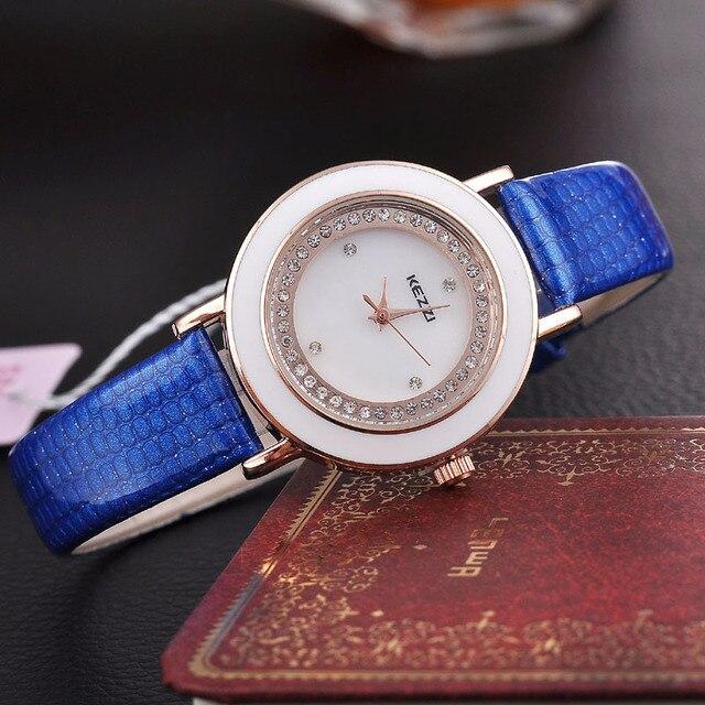 BSL877 KEZZI Brand Women Bracelet Watch Shiny Crystal Slim Leather Relojes Dress