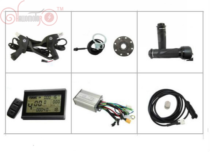 ConhisMotor 36V 48V 250W 350W Ebike Controller Kit/Set E-bicycle LCD Display Twist Throttle PAS Speed Sensor Brake Levers throttle hand grips brake levers throttle housing set for goped gas scooter 43cc 47cc 49cc minimoto bicycle parts