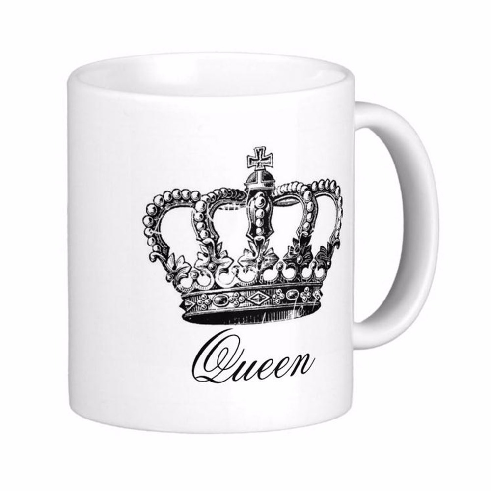 buy vintage damask crown fashion queen white coffee mugs tea mug customize gift. Black Bedroom Furniture Sets. Home Design Ideas