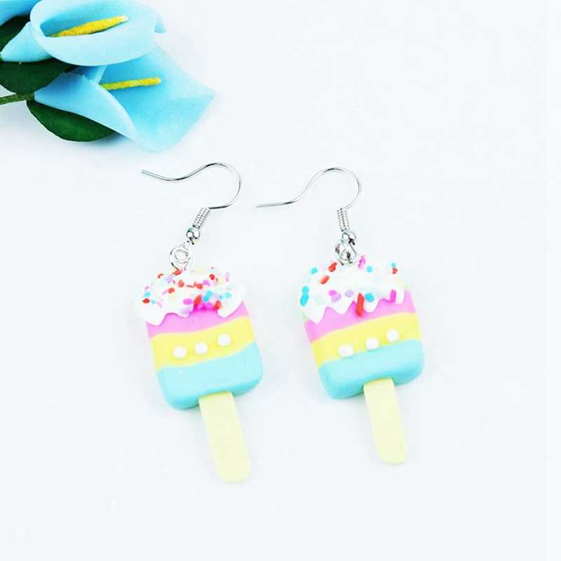 Hot Trendy Style Lovely Girls Ice Cream Earrings Polymer Clay Cute Candy Earring For Sweety Women Girls Food Lollipop Jewelry