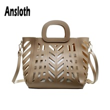 Ansloth Hollow Out Handbag Women Quality PU Leather Shoulder Bag Ladies Solid Color Summer Beach Bag Crossbody Bag Tote HPS582 ethnic style women s crossbody bag with hollow out and color matching design