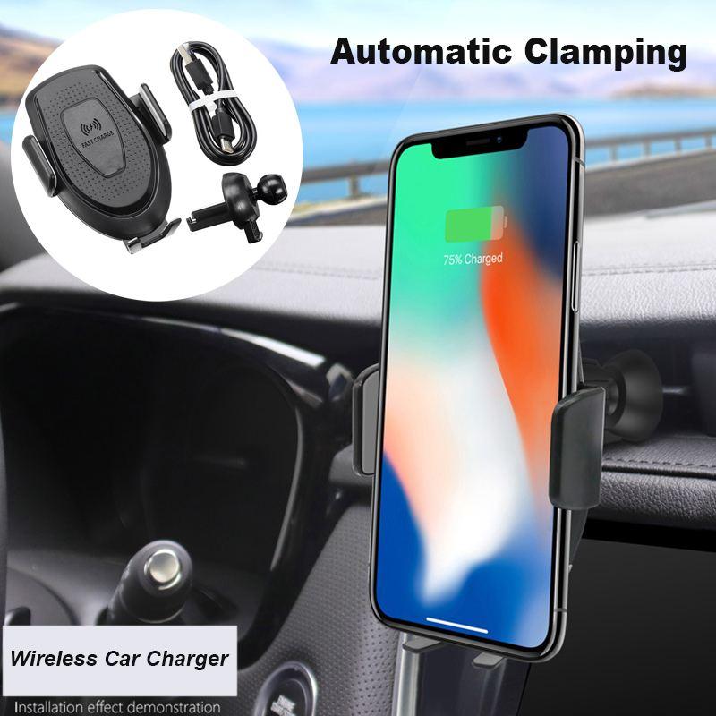 Support de chargeur de voiture sans fil de serrage automatique 10 W Qi Support de charge rapide pour iPhone pour Samsung Support Qi téléphone intelligent sans fil