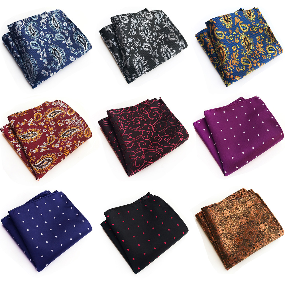 Mens Business Floral Paisley Polka Dots Jacquard Handkerchief Pocket Square BWTHZ0325