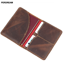 PERDREAM Genuine Leather Unisex Card Certificate Vintage Casual Cow Solid Bags Grind Open Mouth Passport Packages