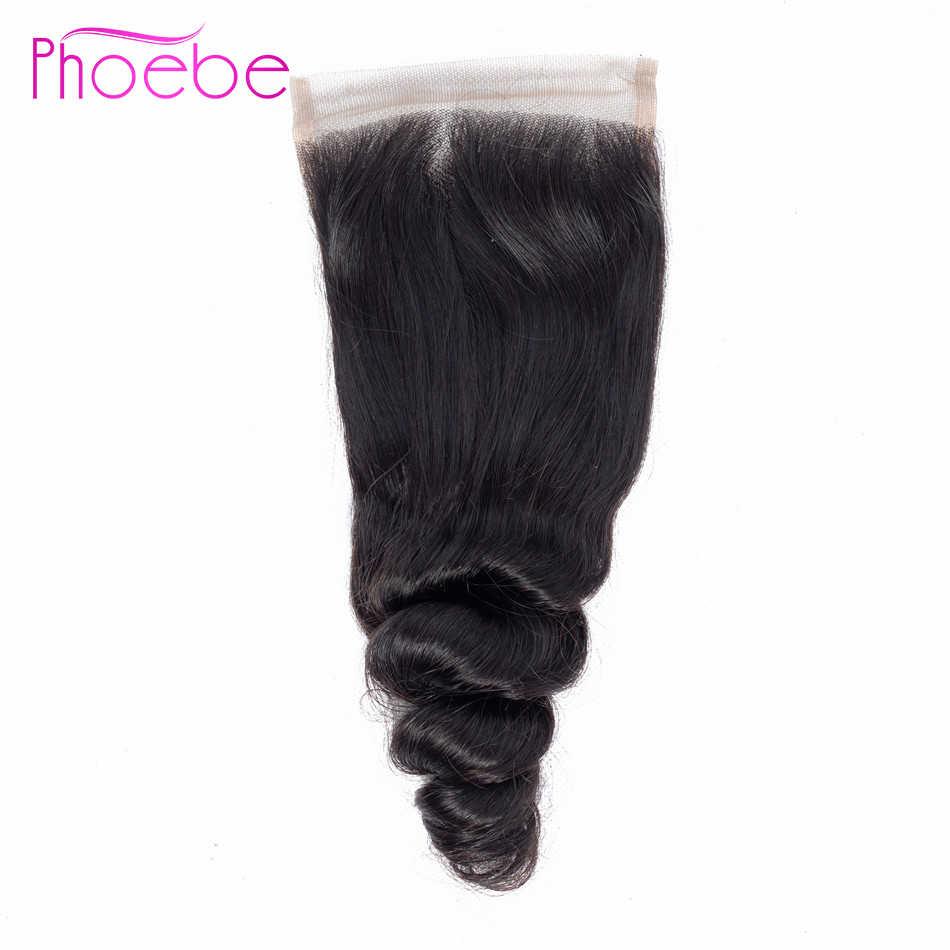 פיבי שיער מראש בצבע 5 Pcs שיער טבעי הודו Loose גל 4 חבילות עם 4*4 תחרה סגר ללא רמי טבעי צבע שיער Weave