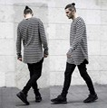 Tyga swag mens t shirts moda 2016 líneas de gradiente extended Curvo dobladillo de tocar fondo de manga larga T-shirt gris hip hop camiseta S-3XL