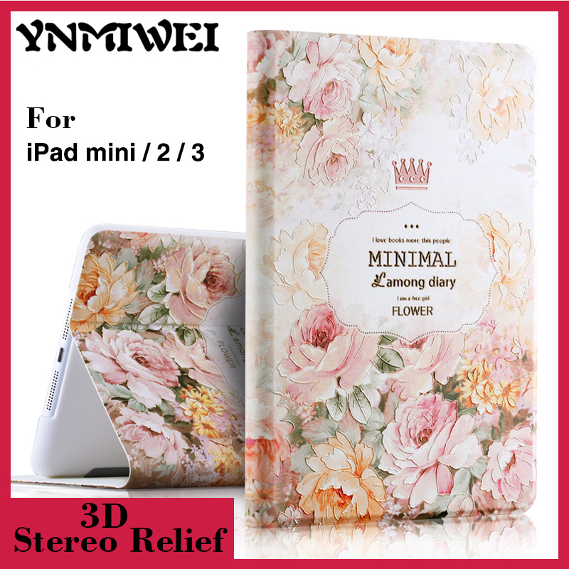 For ipad 6 Luxury 3D Stereo Relief Painting Flower Smart Magnet Leather case Stand for ipad air 2 iPad 6 Tablet cases Wake/Sleep for ipad air 2 pu leather case 3d stereo