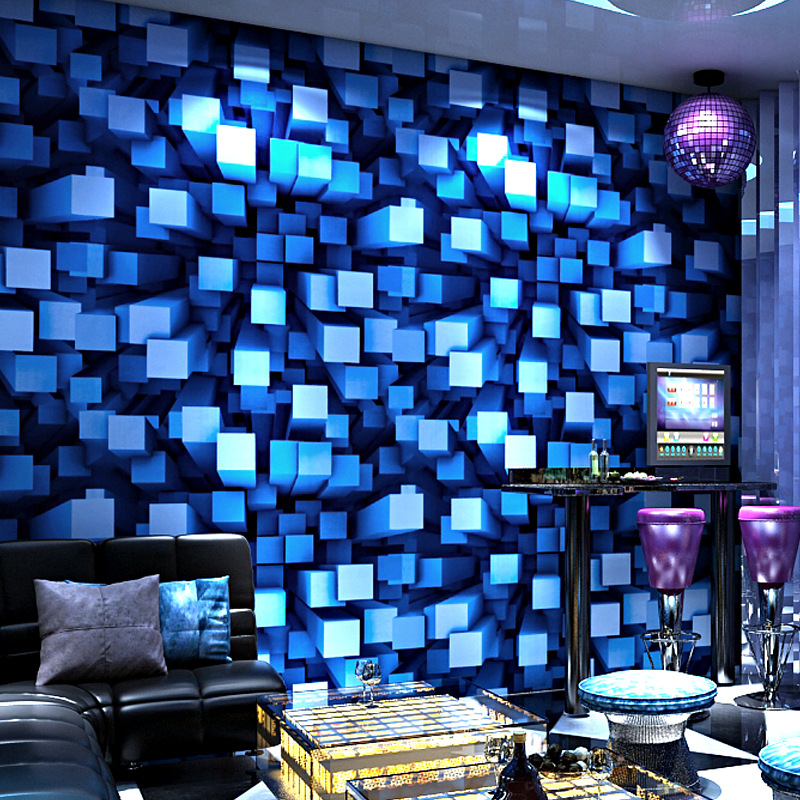 5D Space Cool Wallpaper Personality Fashion Flash KTV Bar Hotel Fancy Dance Hall Box Theme Room Walls Ceiling PVC Wallpaper