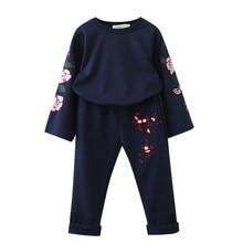 цена на Baby Kids Clothing Sets 2018 New Fall Girls Clothes Suits Sweatshirts+Casual Pants 2Pcs Girls Suit roupas de bebe fille 3-7y
