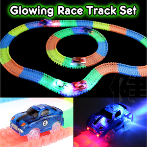 160pcs Miraculous Glowing Race Track Bend Flex Flash in the Dark Assembly Car Toy Glow Racing Track Set Speedway Mini 4