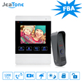 JeaTone Video Doorbell System 4 Inch 1200TVL Rainproof Night Vision Outdoor Camera And Indoor Monitor Door Intercom Phone Kit