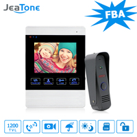 JeaTone Video Doorbell System 4 Inch 1200TVL Rainproof Night Vision Outdoor Camera And Indoor Monitor Door Intercom Phone Kit