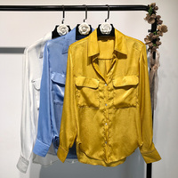 2019 summer new solid satin women blouse and shirts pockets slim lady elegant outwear coat tops