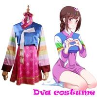 DVA Costume Hot Game OW Dress Adult Woman Silk Dva Dressed Cosplay Dva Hanbok Skin Halloween