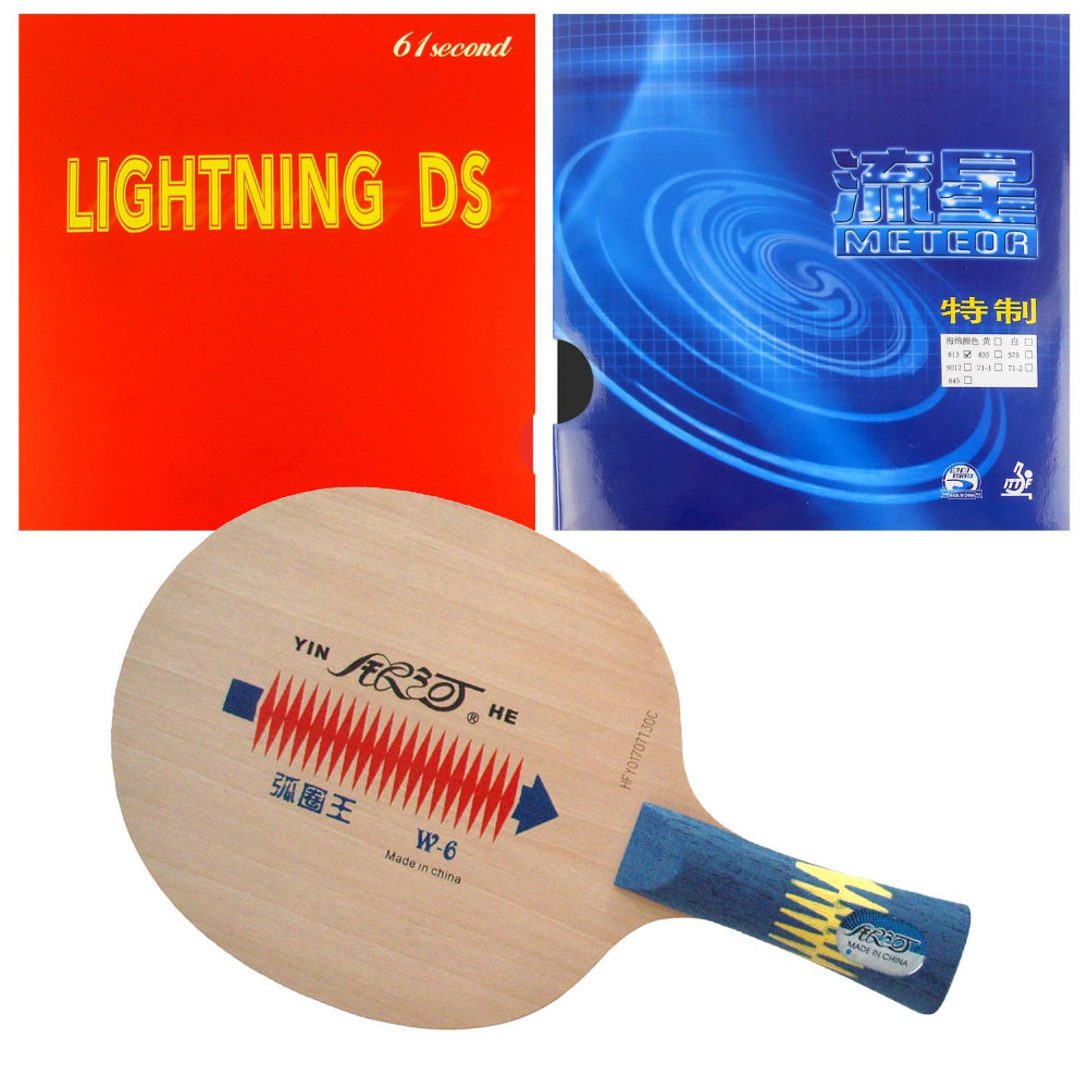 Pro Table Tennis PingPong Combo Racket Galaxy YINHE W-6 with Meteor 813-W and 61second Lightning DS NON-TACKY FL