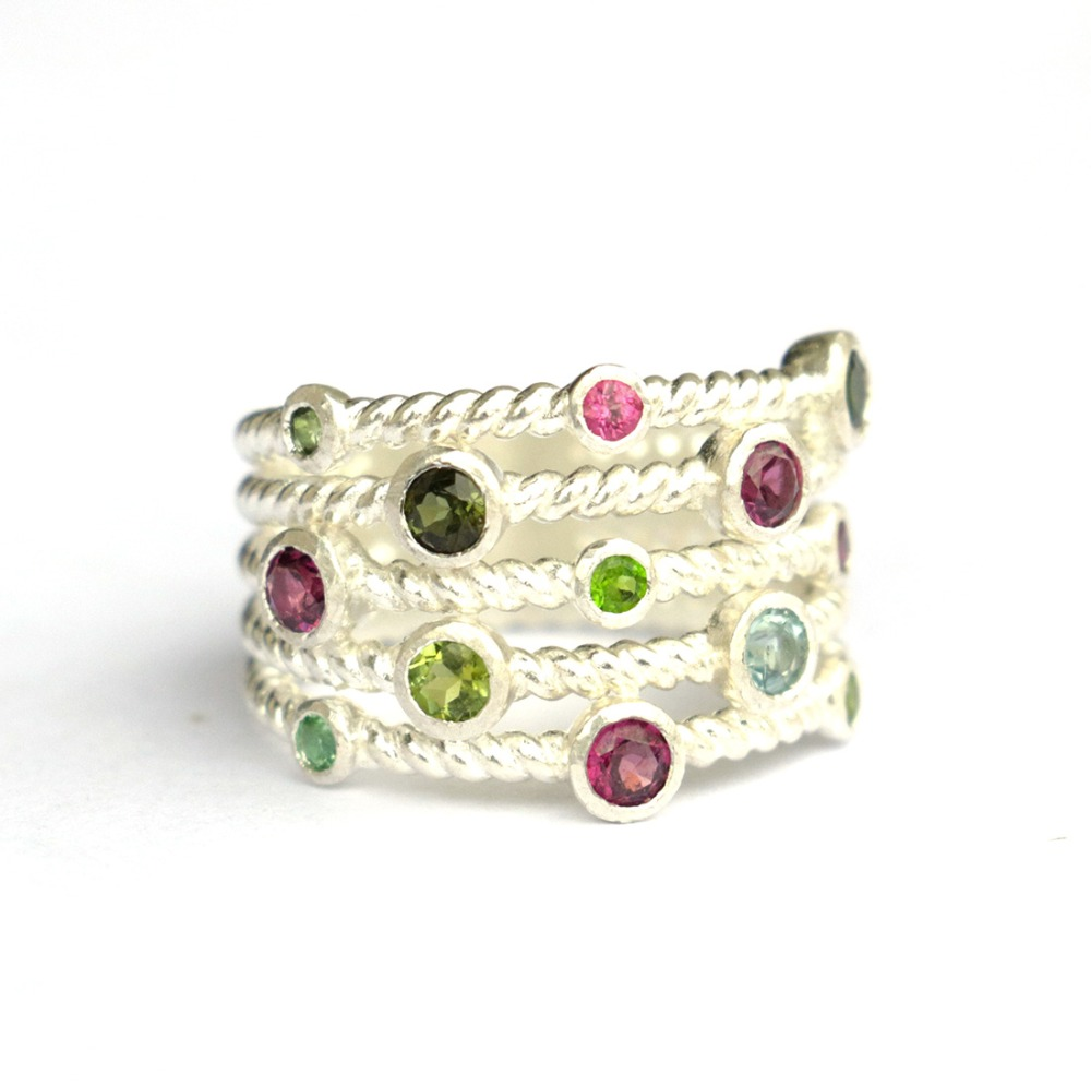 Wellmade Solid 925 Sterling Silver Tourmaline Garnet Unique Stack-Looking Ring