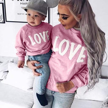 Family Christmas Sweater Letter LOVE Sweatshirts Mommy and Me Mother Daughter Clothes Long Sleeve Round Neck Clothing