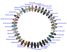 Natural Stone Hexagon Point 30pcs Mixed Gems Stones Reiki Chakra Pendant Stone necklace pendant,Can leave MSG Pick Color