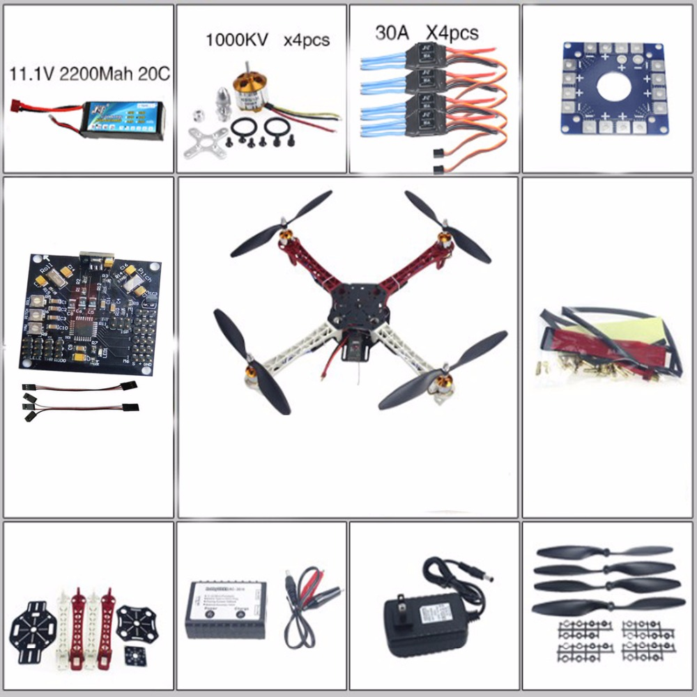 RC QuadCopter MultiCopter UFO ARF/Kit no TX&RX:KK V2.3 Circuit board+1000KV Motor+30A ESC+Lipo+F450 Flamewheel F02502-B  цены