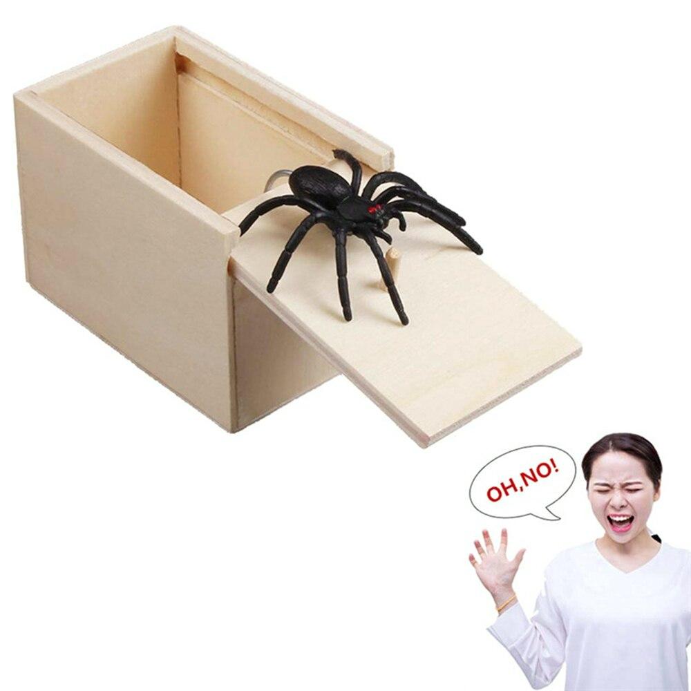Забавная коробка для отпугивания, деревянная шуточная коробка с пауком, скрытый чехол, отличное качество, шуточная деревянная коробка, инте...