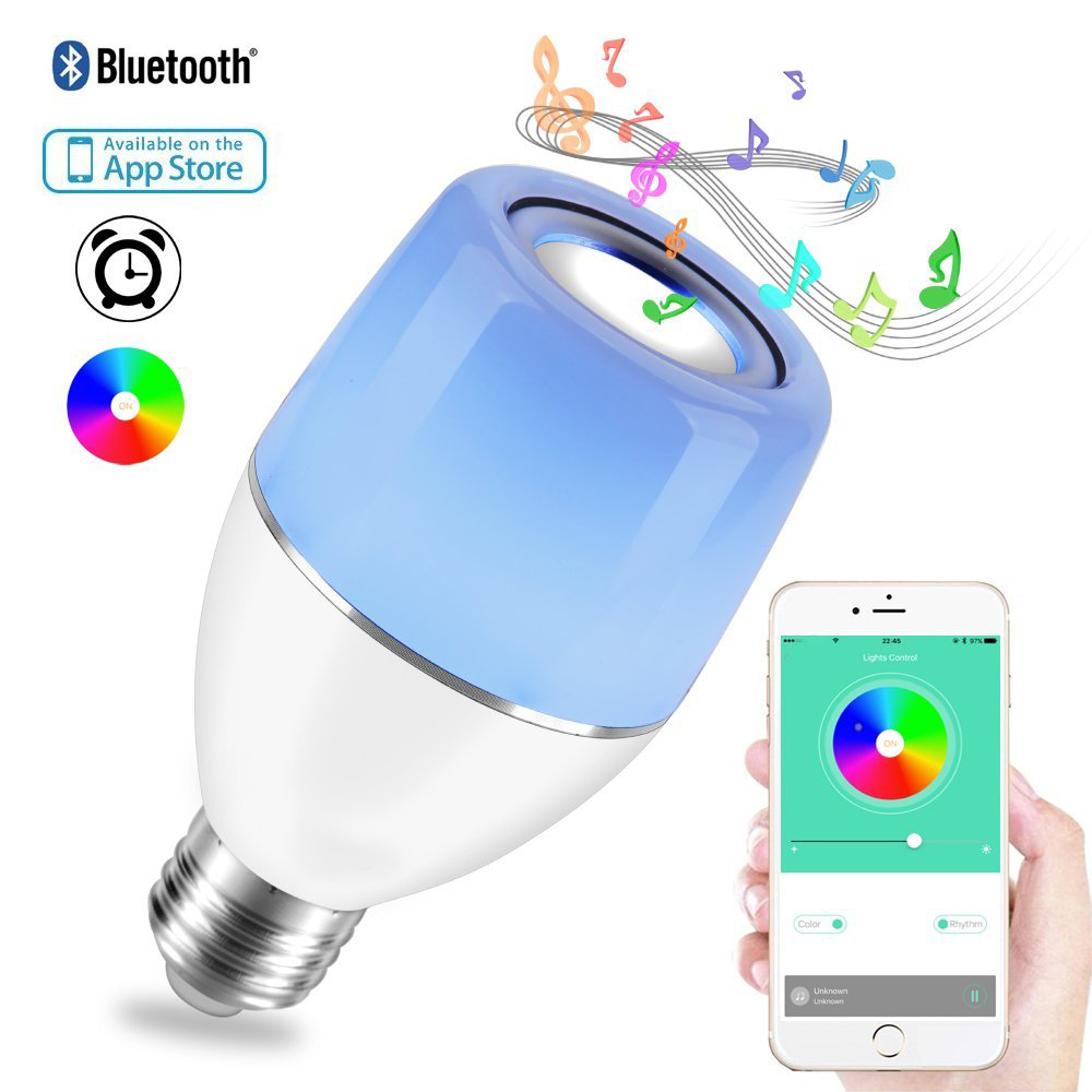 Smart Bluetooth Music Bulb E27 APP & Smart Light Control Night Light Audio Speaker Scheduled Power on and off keyshare dual bulb night vision led light kit for remote control drones