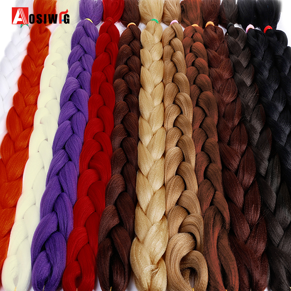 Aosiwig 1 Pcs/lot Synthetic Hair Jumbo Braids African Crochet Braiding Hair 165g/pack Hair Extensions Red Brown To Reduce Body Weight And Prolong Life Jumbo Braids