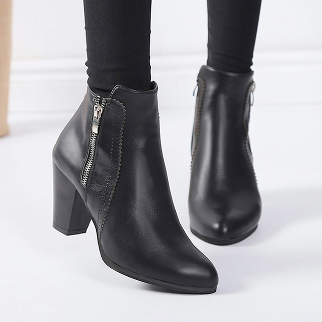 c680e860e66 ankle boots for WomenWomen Vintage Chunky High Heels Thick Heel Short Boot  Ankle Booties zipper Shoes NFA