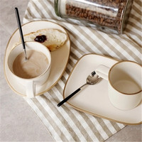 KINGLANG Japanese retro cup saucer set ceramic coffee breakfast cup stoneware cup set