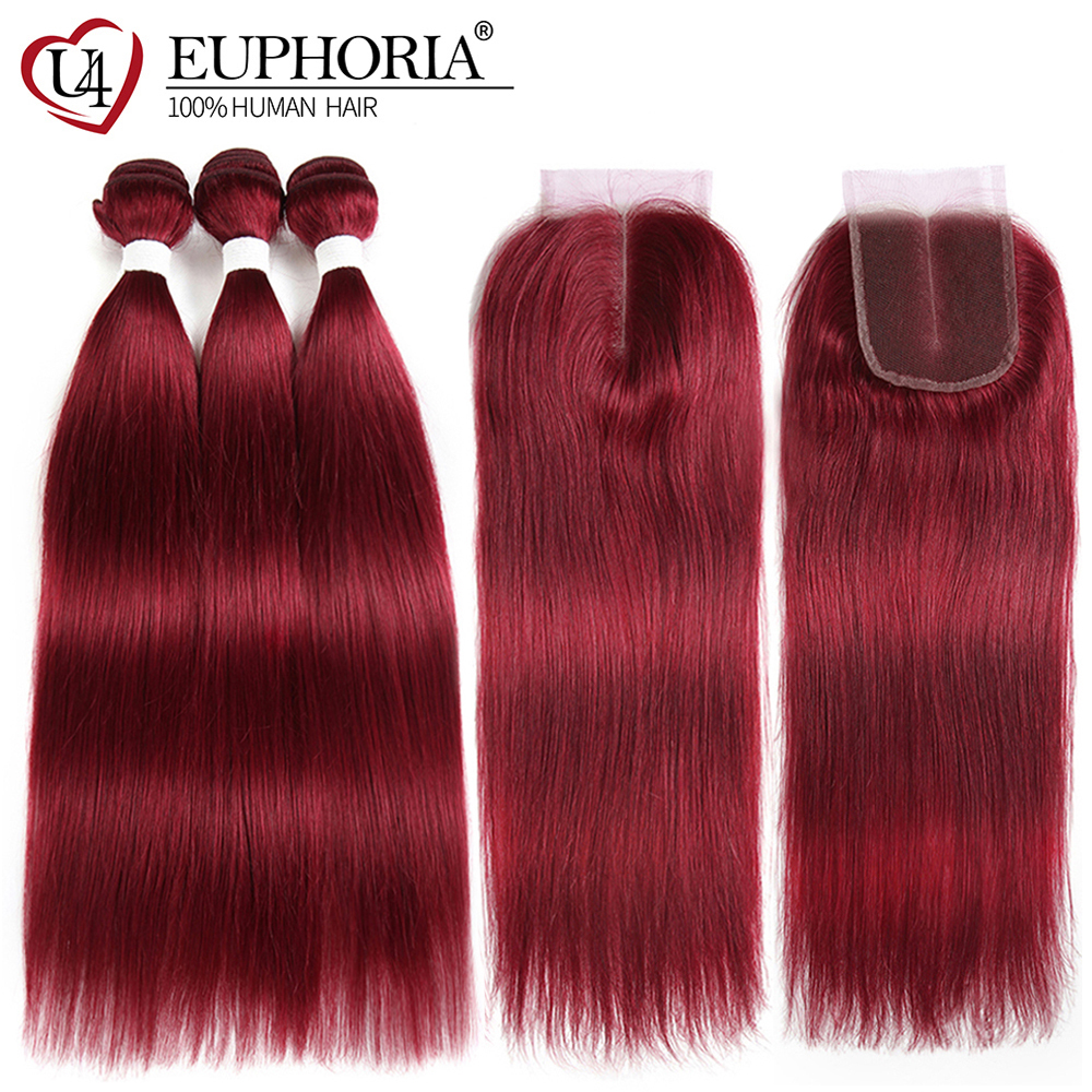 99J Burgundy Human Hair 3 Bundles With Lace Closure Euphoria Brazilian Straight Hair Weaves With Closures