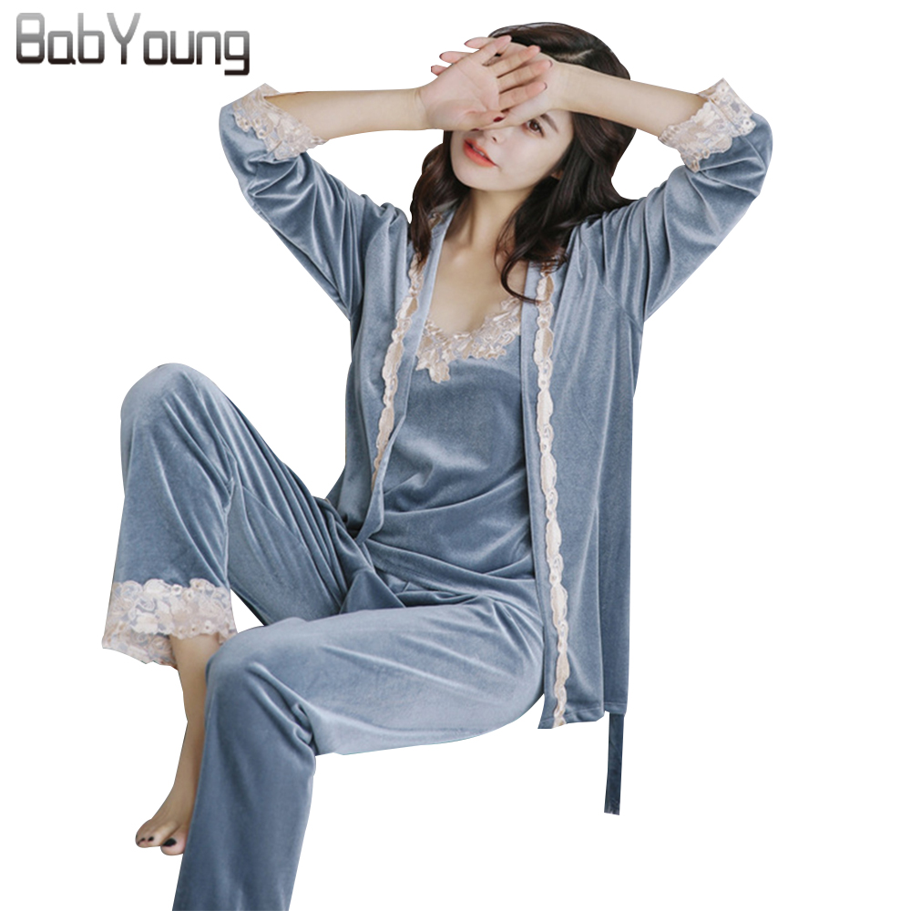 BabYoung 2017 Winter Women Pajamas Sets Pijamas Mujer Sexy Strap Lace Velvet Femme Long  ...