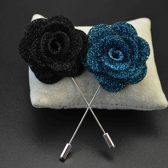a62408a42 Handmade Flower Boutonniere Stick Brooch Pin Clothing Accessories Men Suit Lapel  Pin & Brooch for Women Dress Bling Camellia Pin